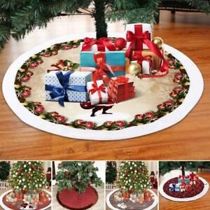 Navidad Árbol Falda Hogar Piso Decoración Nieve Base Alfombra Cubierta 120cm
