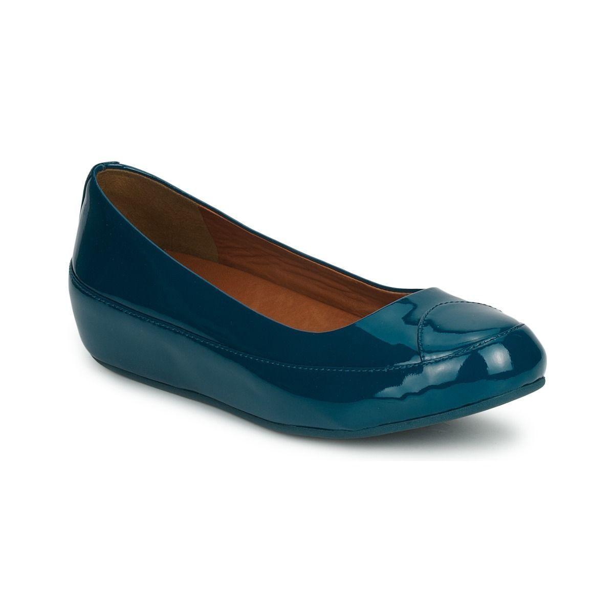 FITFLOP ™ Blu a causa delle immersioni Blu ™ Cuoio Ballerina Pompe Scarpe EU 36 RRP 4a9cee