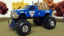 FORD, F350, ERTL, MURDERED OUT, 1/64, Lifted, Stack Pipes, Tow Chains, LOG LOAD