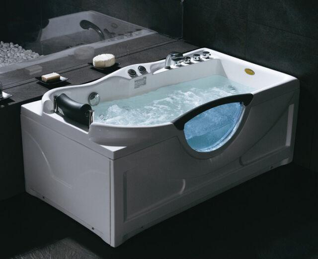 Luxury Whirlpool MASSAGE BATHTUB bath taps like jacuzzi, head rest lights shower