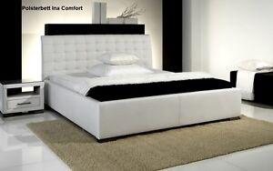 Details zu Designer Lederbett Leder Bett schwarz / weiß / beige / braun  Polsterbett günstig