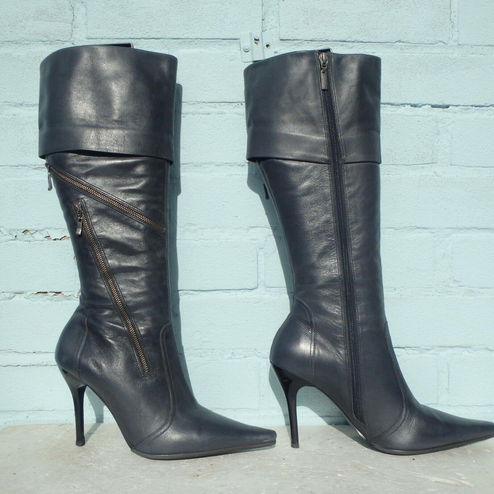 River Island Leather Stiefel Größe Uk 6 Eur 39 Sexy damen Stiletto grau Pirate