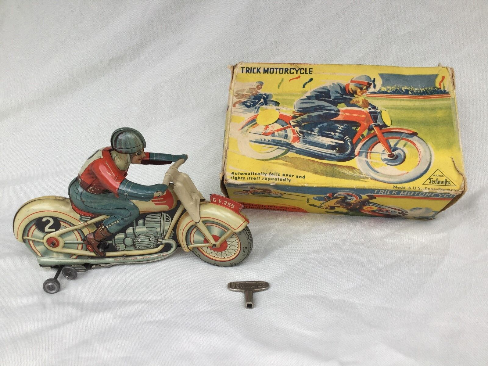 el estilo clásico TECHNOFIX Ge 255 Motorrad Truco Moto Moto Moto Blechspielzeug Estaño Juguete Vintage En Caja  ventas calientes