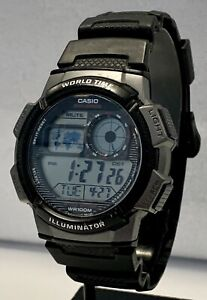 CASIO AE-1000W 3198 Module Men's Digital Wristwatch Alarm Chrono Works Gd Cd