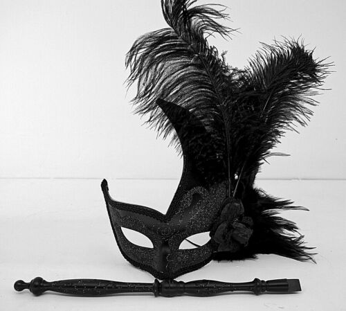 Traditional Venetian Masquerade Ball Feathered Eye Mask On Stick Womans Eyemask