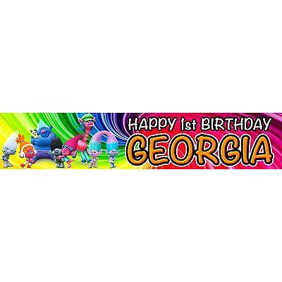 2 x Trolls Personalised Birthday Banners or 1 Door Banner