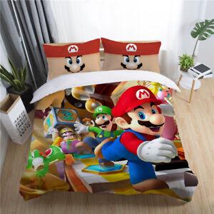 Edredon De Mario Bros.Details About 3d Kids Bedding Set Super Mario Bros Party Duvet Cover Pillowcase Quilt Cover