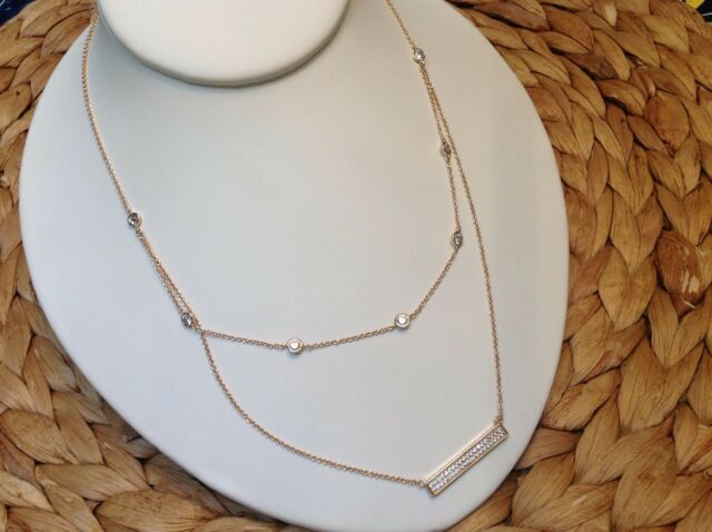 CZ By The Yard Double Layered Bar Necklace-2 Chains-Gold Rhodium EP-Adjustable