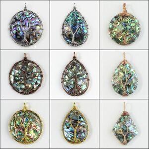 New-Natural-Multicolor-Abalone-Shell-Round-Teardrop-Diamond-Tree-of-Life-Pendant