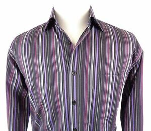 St-Croix-Large-Shirt-Button-Up-Long-Sleeve-Striped-Multi-Color-Cotton-Made-Italy