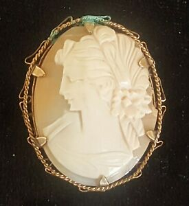 Gilt-metal-amp-carved-shell-cameo-vintage-Art-Deco-brooch-E