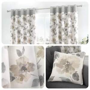 Fusion-ADRIANA-Natural-Floral-100-Cotton-Eyelet-Curtains-amp-Cushions