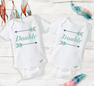 Double Trouble Twin Best Friend Outfits Baby Girls Unisex Twins Onesies Newborn
