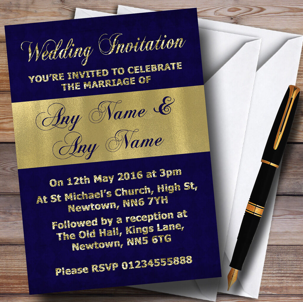 Navy Blau And And And Glitter Look Gold Wedding Personalised Invitations 575d65