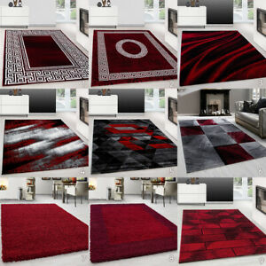 Red And Black Rug Extra Large Small Living Room Rug Bedroom Circle Runner Carpet Ebay