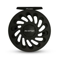 2016 Ross Rapid 3/4 Large Arbor Rulon Disc Fly Reel Black For 3-4 Weight Rod