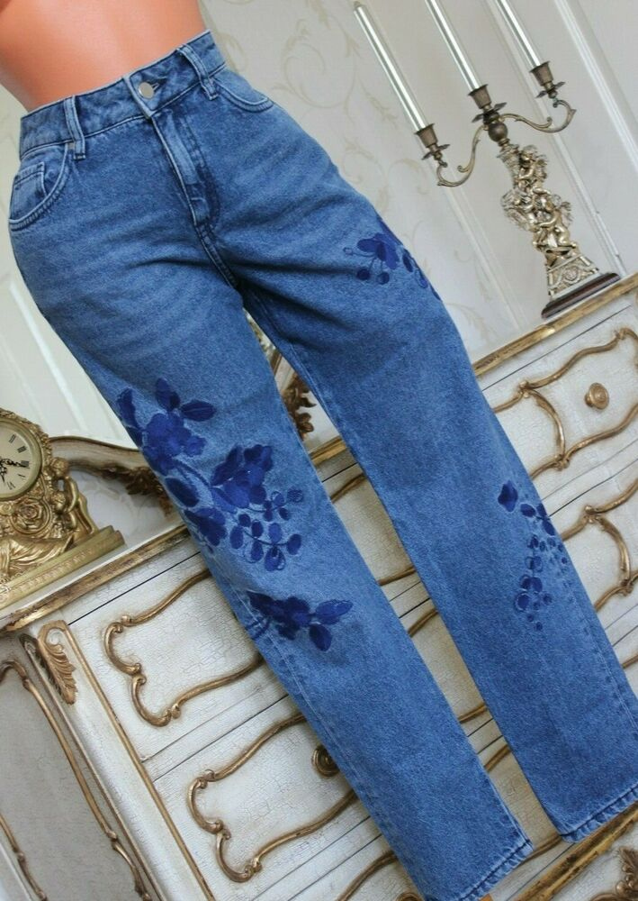 (g1) Marks & Spencer 100% Coton Indigo Mélange Ladiestrousers Jeans Taille 10 Grande Coupe