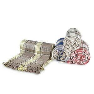 Large-100-Cotton-Highland-Tartan-Check-Sofa-Bed-Throw-4-Colours-amp-5-Sizes