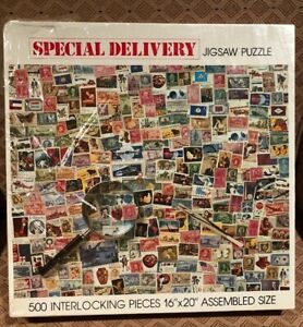 POSTAGE-STAMP-Puzzle-034-SPECIAL-DELIVERY-034-500-piece-jigsaw-puzzle-made-in-USA-NIB