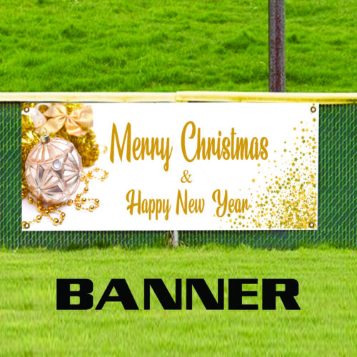 Merry Christmas /& Happy New Year Holiday Xmas Indoor Outdoor Vinyl Banner Sign