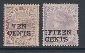 Ceylon-Sc-122-123-MLH-1885-10c-and-15c-surcharges-on-QV-issues
