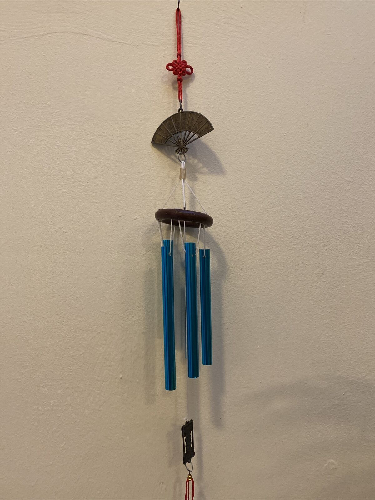 """Chinese Good Luck Metal & Wood Wind """"FAN"""" Chimes/ Charm Full Length 50 Cm"""