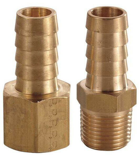 STRAIGHT NPT X HOSE BARB - ANY SIZE - MALE OR FEMALE - SOLID BRASS AIR FITTINGS