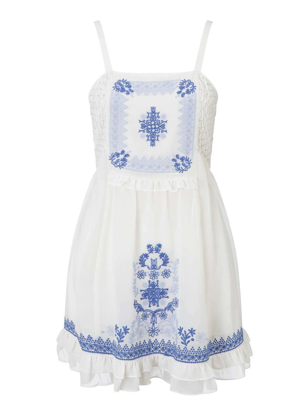 BNWT - Miss Selfridge Embroidered Summer Holiday Dress (White bluee) Size