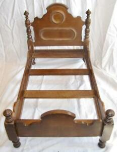 Doll-Bed-Antique-Wood-Wooden-Victorian-Display-Dark-Brown-Finish-O2