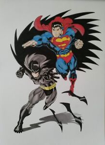 Batman Superman Art Poster Handmade Drawing Dc Comic Book Sketch Superhero Boys Ebay