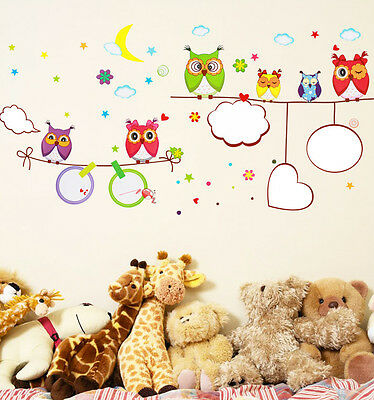 Owl Beautiful Sky Wall Sticker DIY Mural Paper For Kids Baby Living Room Decor