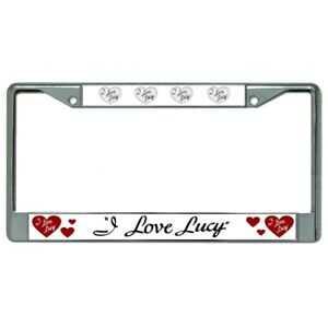 i love lucy tv show hearts logo chrome license plate frame made in usa