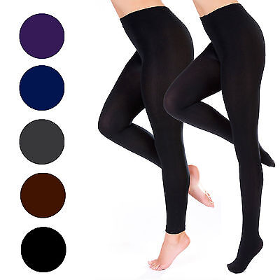 Ladies Women Thick Full Foot Fleece Lined Winter Warm Stretch Tights Black Smlxl
