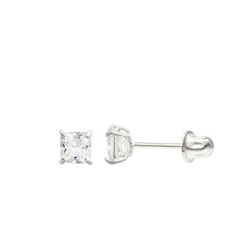 14K White Gold Princess Double Basket Screw Back Stud Earrings 3 mm to 7 mm