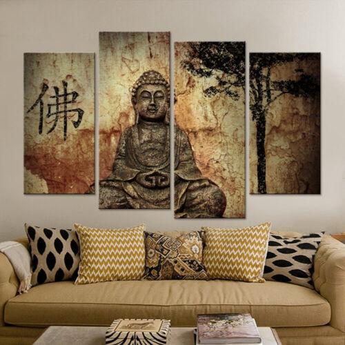 Ancient Meditating Buddha Statue 4 Panel Canvas Print Wall Art