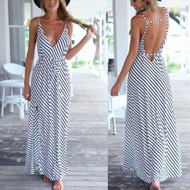 Sexy Women Summer Boho Long Maxi Evening Party Dress Beach Dresses Chiffon Dress