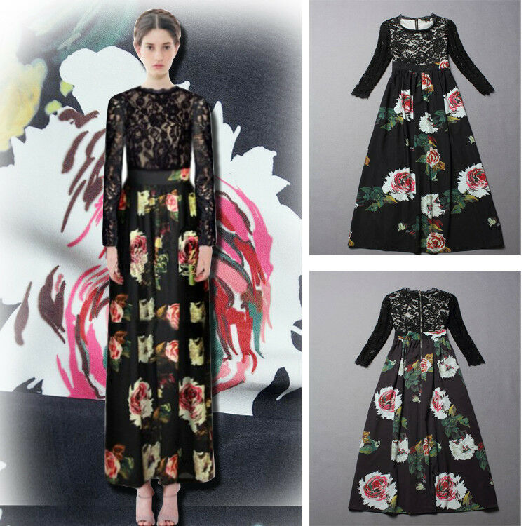 Celebrity Style Habit Star Long Dress schwarz Lace Print  without tag New design