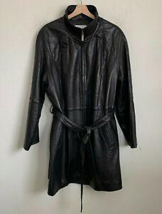 Preston & York Womens Coat Lambskin Brown Leather Zip Belt Pockets Lined Size 2X