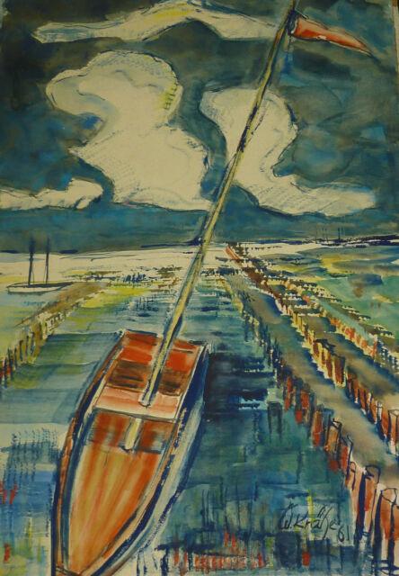 Expressionismus Segelschiff im Hafen maritimes Gemälde Signatur W. Krähe 1961