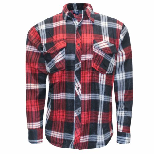 Pulsante in Pile da Uomo Camicie Scacchi Caldo Flanella Lumberjack Lavoratore Tops M-3XL