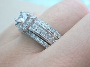 925-STERLING-SILVER-Princess-CZ-BRIDAL-SET-Engagement-amp-Wedding-amp-Eternity-RINGS