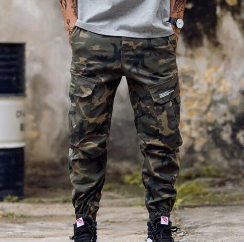 Mens Jogger Skinny Pants Pockets Overall Harem Military Trouser Tapered Casual T