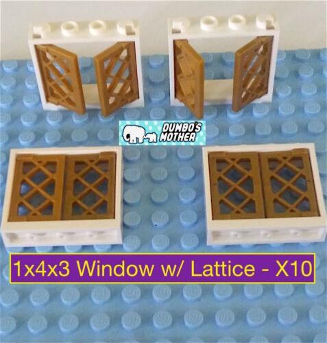 LEGO Window 1x4x3 with Pearl Gold Lattice NEW X10