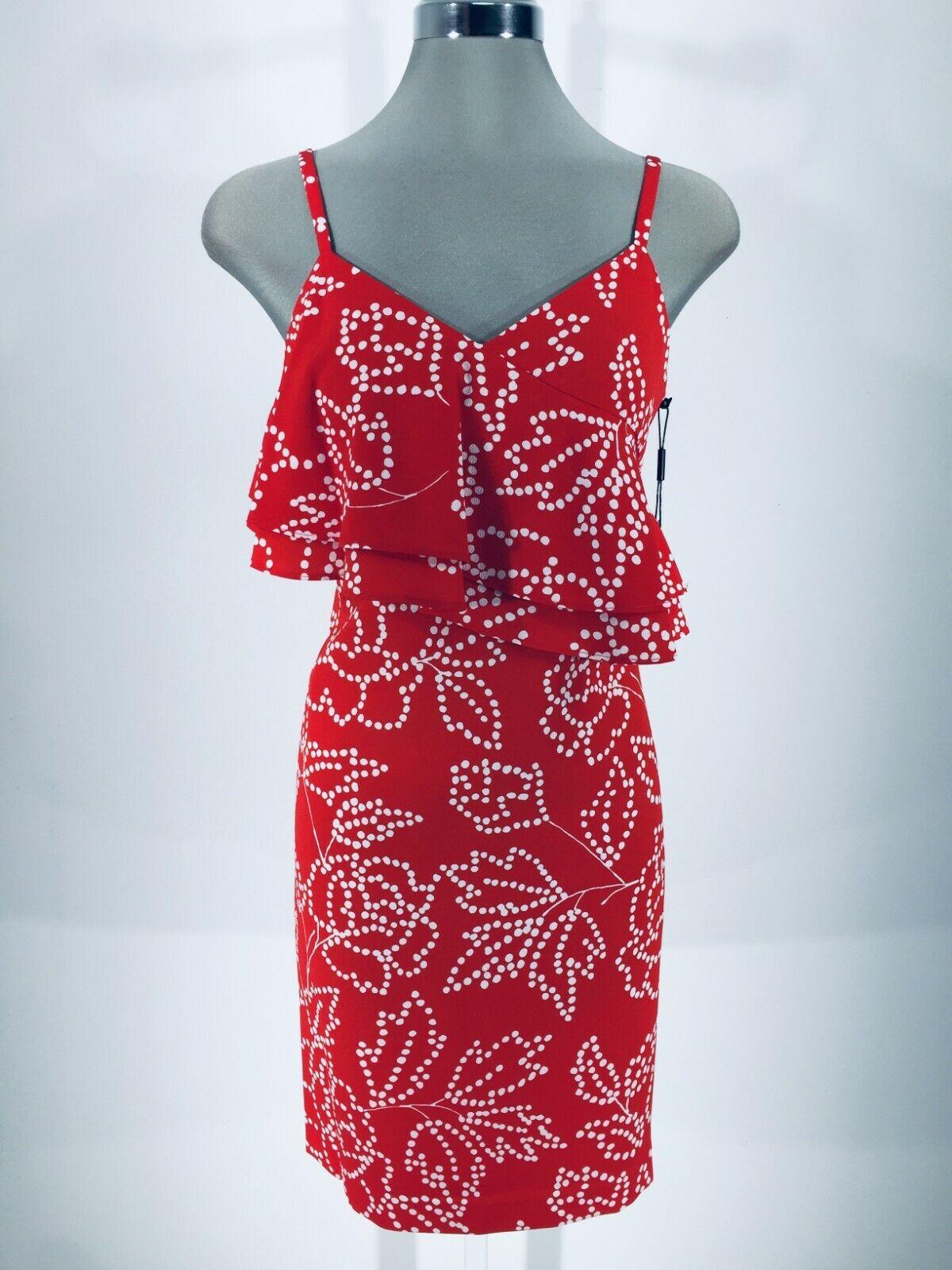 92735e2c8ccce2 Karl Lagerfeld Paris Neu Wt Feuerrot Spaghettiträger Kleid Größe 0,2,4,6