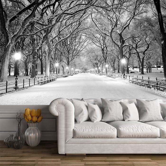 Central Park New York Wandbild Schwarz-Weiss Foto-Tapete Winterbaum Dekor