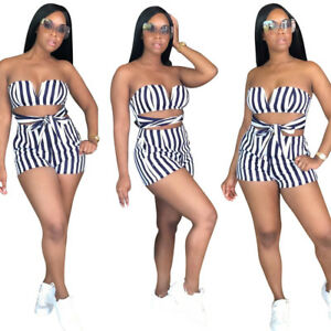 ebe486b35c3e Details about Sexy Women Strapless Bandage Striped Short Jumpsuit Romper  Summer Casual 2pcs
