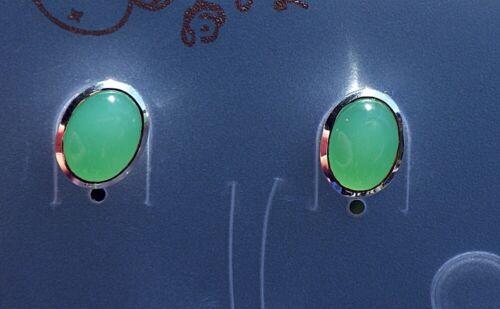 SCHMUCK-STCK OHRRINGE Stecker CHRYSOPRAS oval Silber Ohrstecker