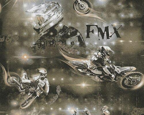 Ireland Création Noir Marron Beige moto papier peint Motocross Children/'s room