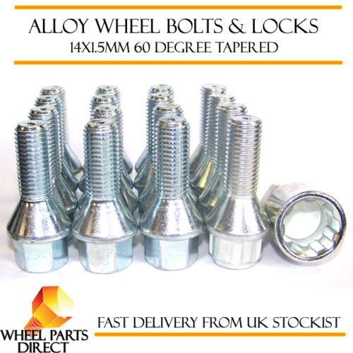 07-16 Wheel Bolts /& Locks B8 12+4 14x1.5 Nuts for Audi A5