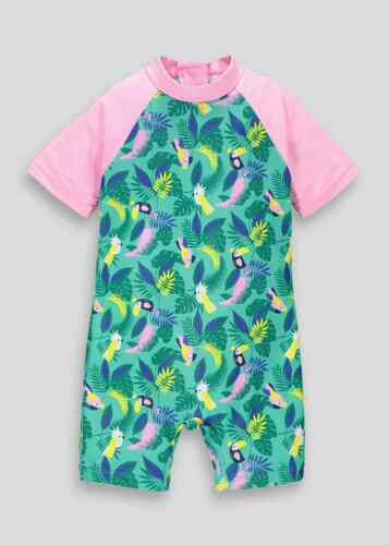 RR1222 Girls BNWT  Kids Pink  Tropical Bird Surf Suit swimming Summer Holiday
